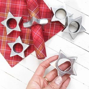 Other - 6 STAR silver napkin rings, holiday tablescape.